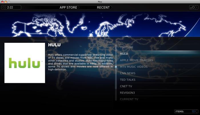 Hulu in Plex App Store