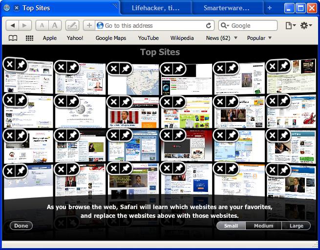 Safari 4 Beta Top Sites Customization