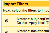 Import Gmail filters