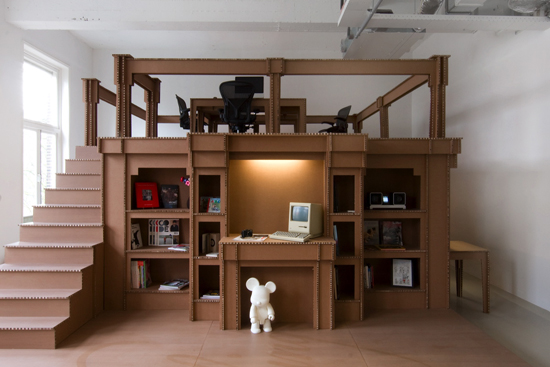 An Office Made From Cardboard