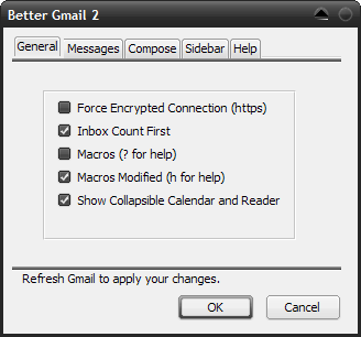 Better Gmail 2 Options dialog