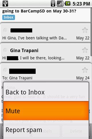 Cupcake Gmail Mute conversation