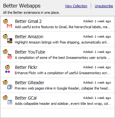 Better Webapps Collection