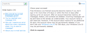 Hotmail inactivity shutdown