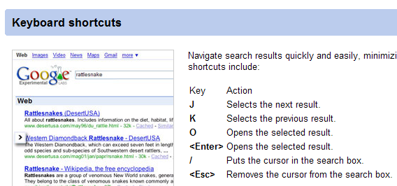 Navigate Google with J and K keys