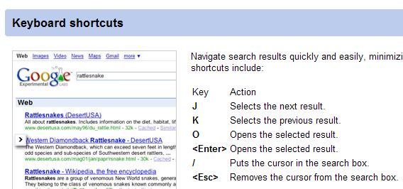 Navigate Google with J and K keys