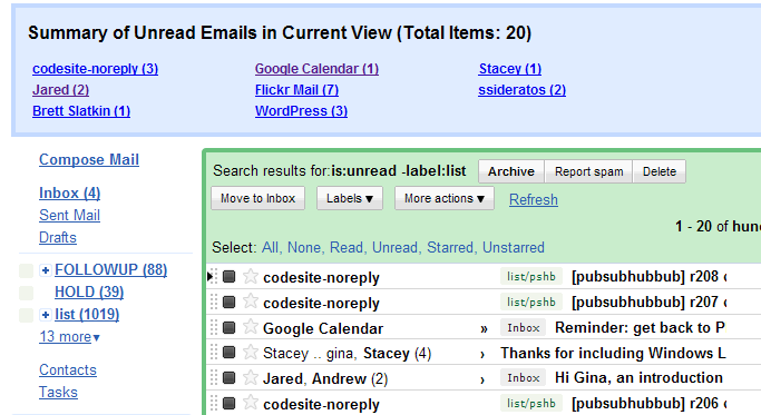 Summarize Unread Email by Sender