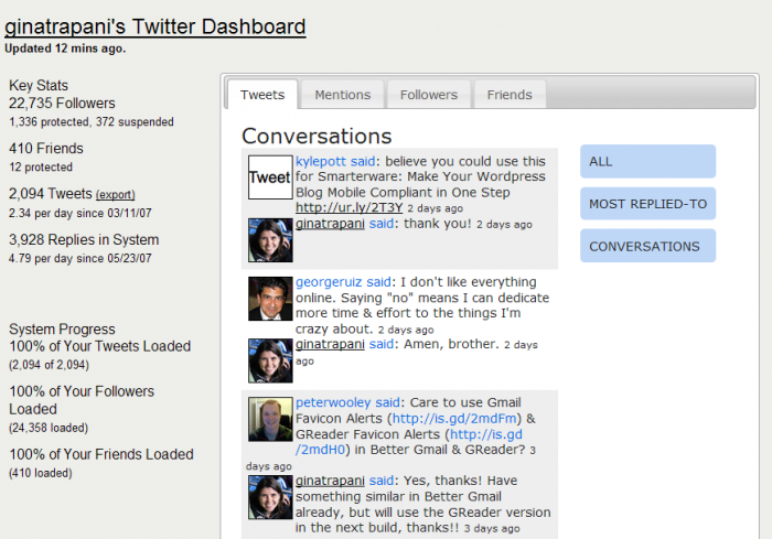 Twitalytic - Conversations