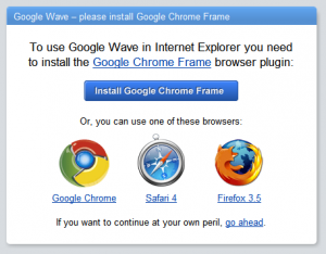 Google Wave Chrome Frame prompt