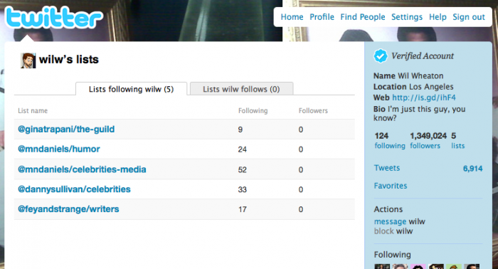 Twitter lists you're included on