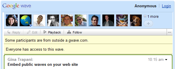 Embed Waves on Your Web Site That Anyone Can See